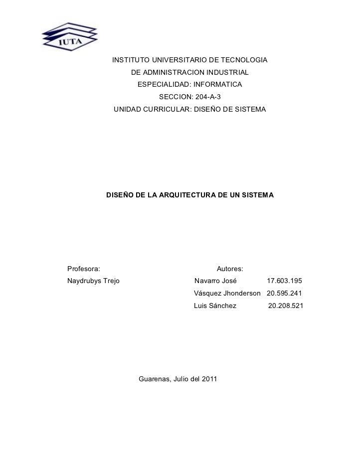 INSTITUTO UNIVERSITARIO DE TECNOLOGIA                  DE ADMINISTRACION INDUSTRIAL                    ESPECIALIDAD: INFOR...