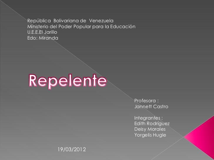 República Bolivariana de VenezuelaMinisterio del Poder Popular para la EducaciónU.E.E.El JarilloEdo: Miranda              ...