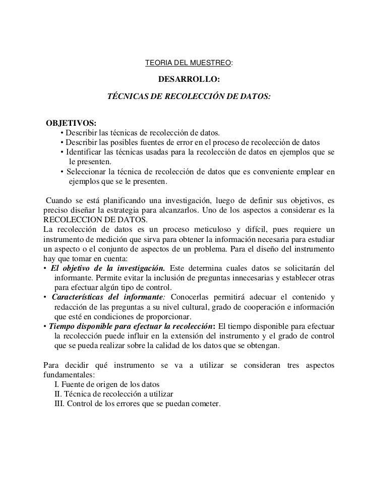 TEORIA DEL MUESTREO:                                  DESARROLLO:                   TÉCNICAS DE RECOLECCIÓN DE DATOS:OBJET...