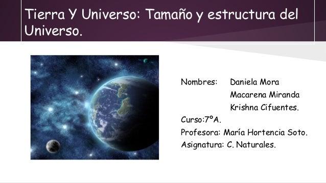 Tierra Y Universo: Tamaño y estructura del Universo. Nombres: Daniela Mora Macarena Miranda Krishna Cifuentes. Curso:7ºA. ...