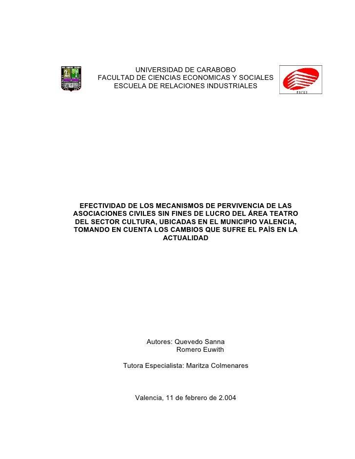 UNIVERSIDAD DE CARABOBO      FACULTAD DE CIENCIAS ECONOMICAS Y SOCIALES         ESCUELA DE RELACIONES INDUSTRIALES      EF...