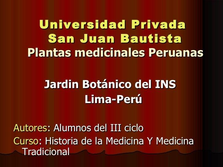 PLANTAS MEDICINALES PERUANAS