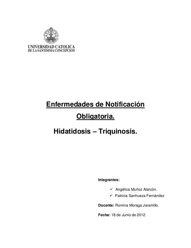Enfermedades de Notificación         Obligatoria.  Hidatidosis – Triquinosis.               Integrantes:                  ...