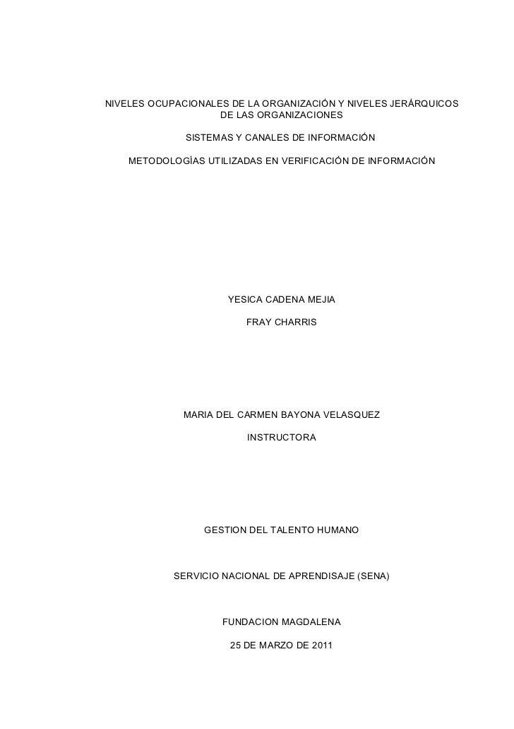 NIVELES OCUPACIONALES DE LA ORGANIZACIÓN Y NIVELES JERÁRQUICOS                    DE LAS ORGANIZACIONES              SISTE...