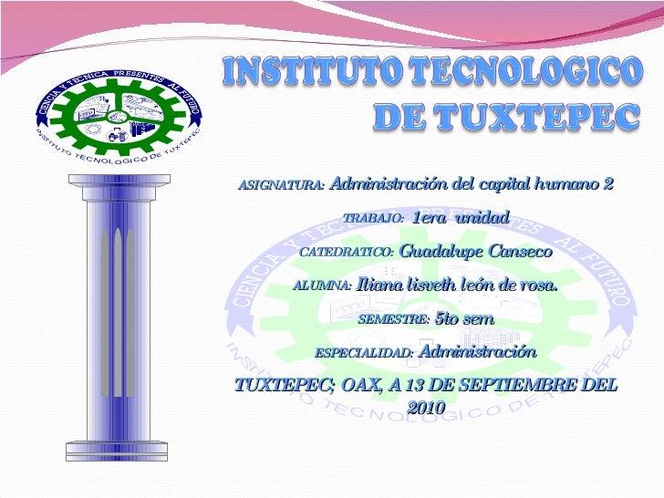 ASIGNATURA:  Administración del capital humano 2 TRABAJO:  1era  unidad CATEDRATICO:  Guadalupe Canseco ALUMNA:  Iliana li...