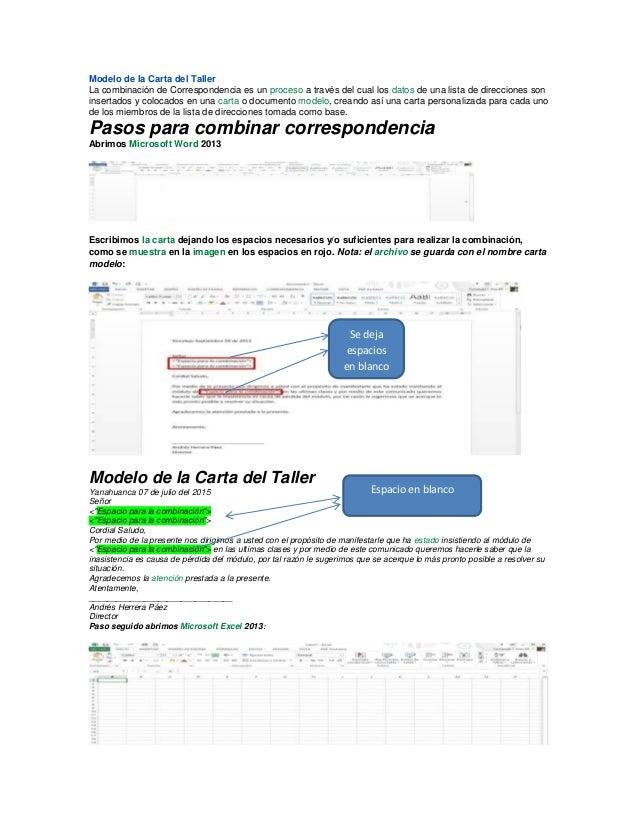 Modelo de la Carta del Taller La combinación de Correspondencia es un proceso a través del cual los datos de una lista de ...