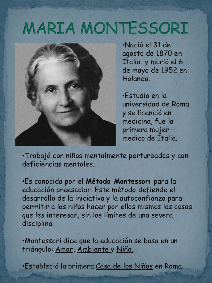 who is maria montessori essay Free coursework on maria montessori from essayukcom, the uk essays company for essay, dissertation and coursework writing.