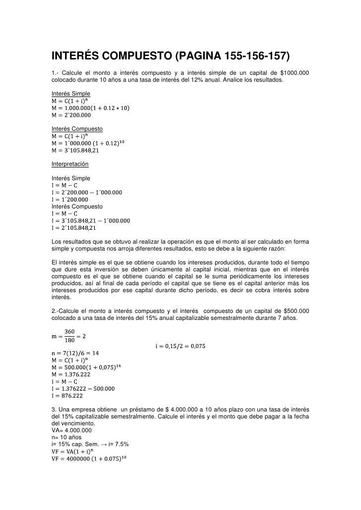 INTERÉS COMPUESTO (PAGINA 155-156-157)<br />1.- Calcule el monto a interés compuesto y a interés simple de un capital de $...