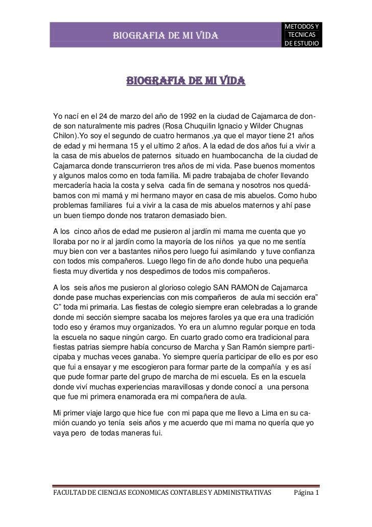 BIOGRAFIA DE MI VIDA<br />Yo nací en el 24 de marzo del año de 1992 en la ciudad de Cajamarca de donde son naturalmente mi...