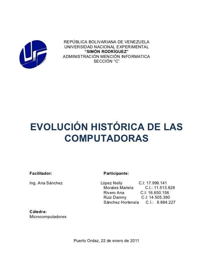 "REPÚBLICA BOLIVARIANA DE VENEZUELA                   UNIVERSIDAD NACIONAL EXPERIMENTAL                            ""SIMÓN R..."