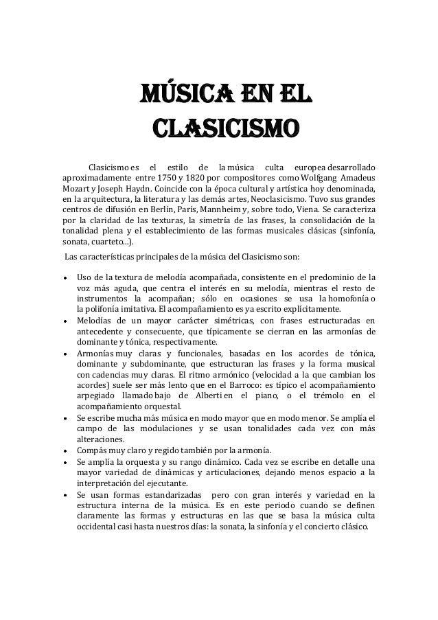 Trabajo de m sica periodos de la musica - Epoca del clasicismo ...