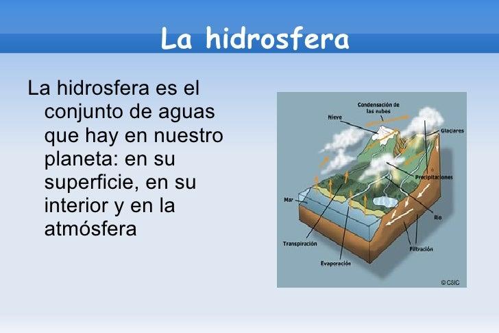 La hidrosfera <ul><li>La hidrosfera es el conjunto de aguas que hay en nuestro planeta: en su superficie, en su interior y...