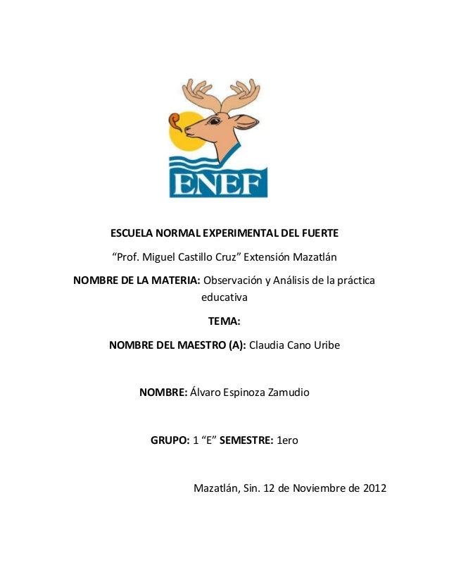 """ESCUELA NORMAL EXPERIMENTAL DEL FUERTE       """"Prof. Miguel Castillo Cruz"""" Extensión MazatlánNOMBRE DE LA MATERIA: Observac..."""
