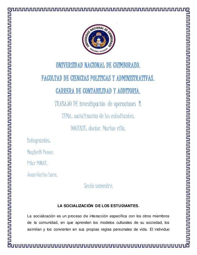 UNIVERSIDAD NACIONAL DE CHIMBORAZO. FACULTAD DE CIENCIAS POLITICAS Y ADMINISTRATIVAS. CARRERA DE CONTABILIDAD Y AUDITORIA....