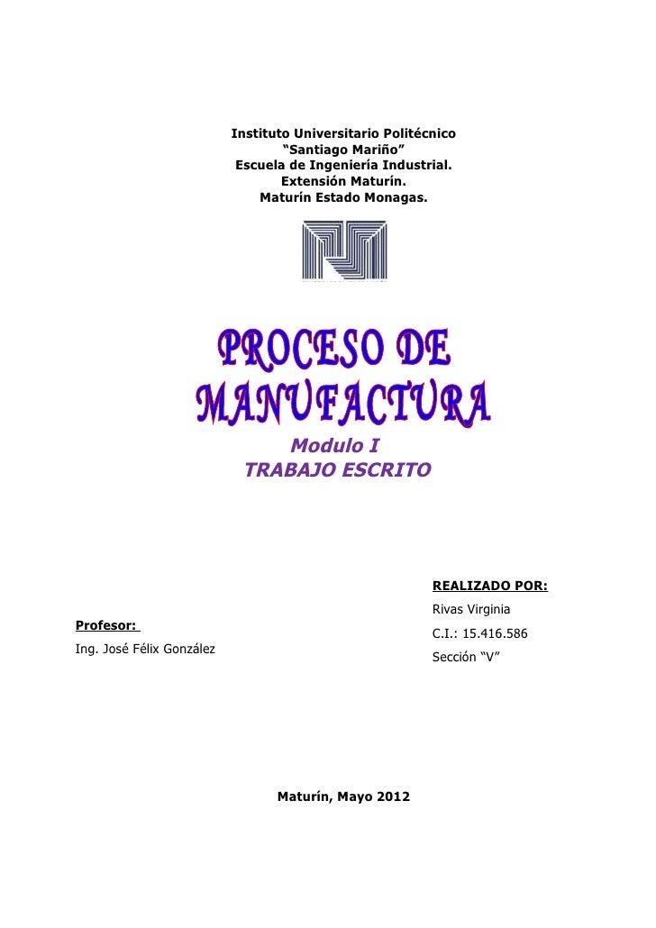 Trabajo de  procesos de manufactura