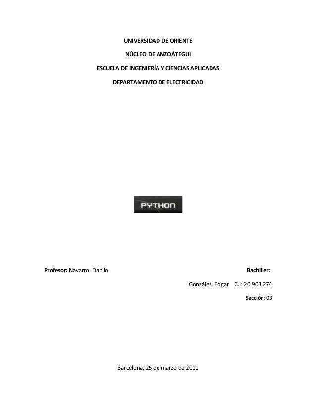 UNIVERSIDAD DE ORIENTE NÚCLEO DE ANZOÁTEGUI ESCUELA DE INGENIERÍA Y CIENCIAS APLICADAS DEPARTAMENTO DE ELECTRICIDAD Profes...