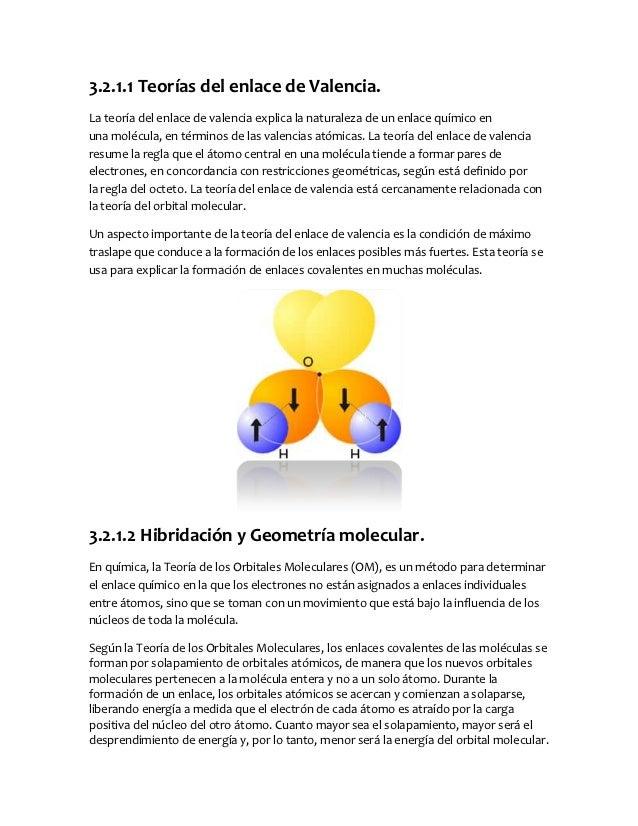 3.2.1.1 Teorías del enlace de Valencia.La teoría del enlace de valencia explica la naturaleza de un enlace químico enuna m...
