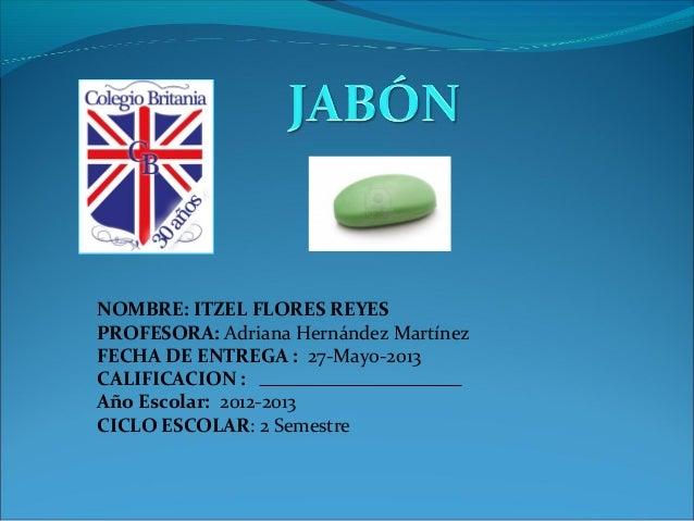 NOMBRE: ITZEL FLORES REYES PROFESORA: Adriana Hernández Martínez FECHA DE ENTREGA : 27-Mayo-2013 CALIFICACION : Año Escola...