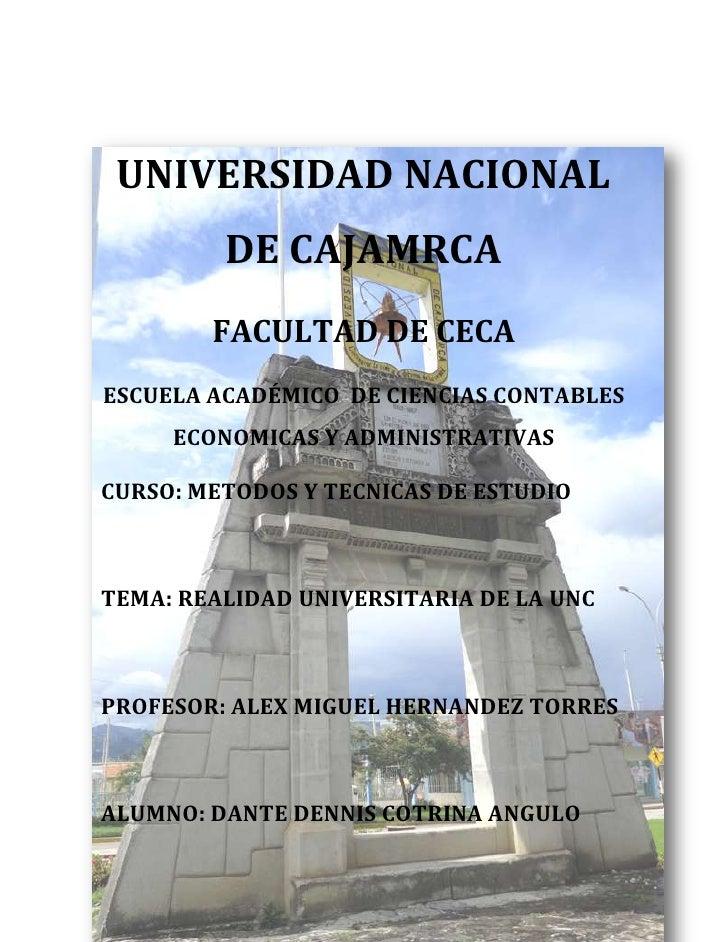 UNIVERSIDAD NACIONAL         DE CAJAMRCA        FACULTAD DE CECAESCUELA ACADÉMICO DE CIENCIAS CONTABLES     ECONOMICAS Y A...