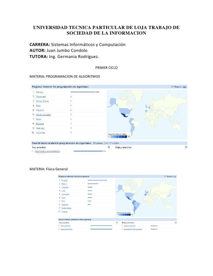 UNIVERSIDAD TECNICA PARTICULAR DE LOJA TRABAJO DE              SOCIEDAD DE LA INFORMACION  CARRERA: Sistemas Informáticos ...