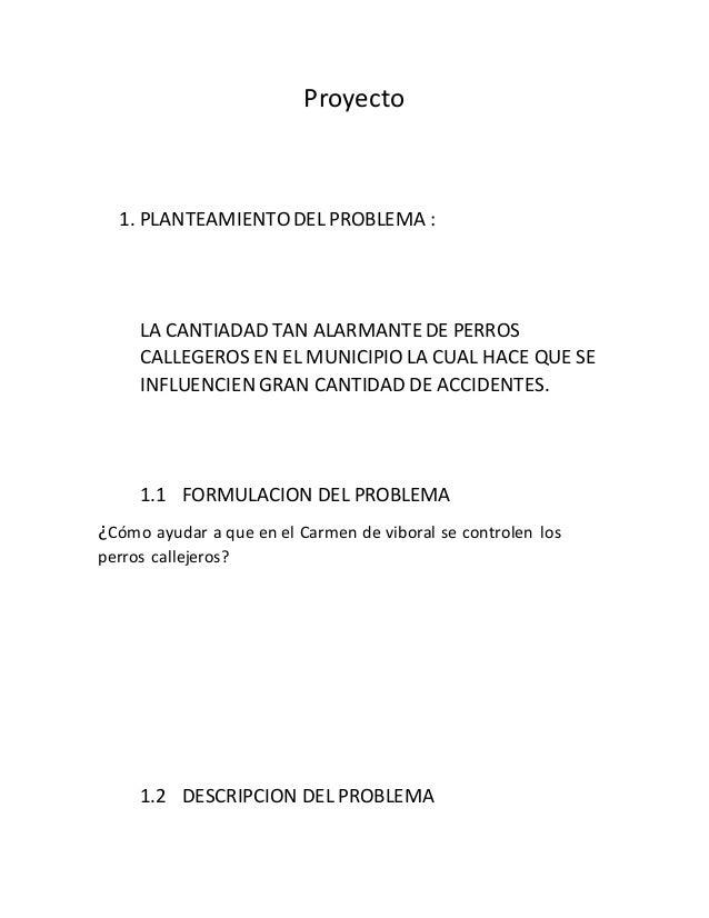 Proyecto  1. PLANTEAMIENTO DEL PROBLEMA :  LA CANTIADAD TAN ALARMANTE DE PERROS  CALLEGEROS EN EL MUNICIPIO LA CUAL HACE Q...