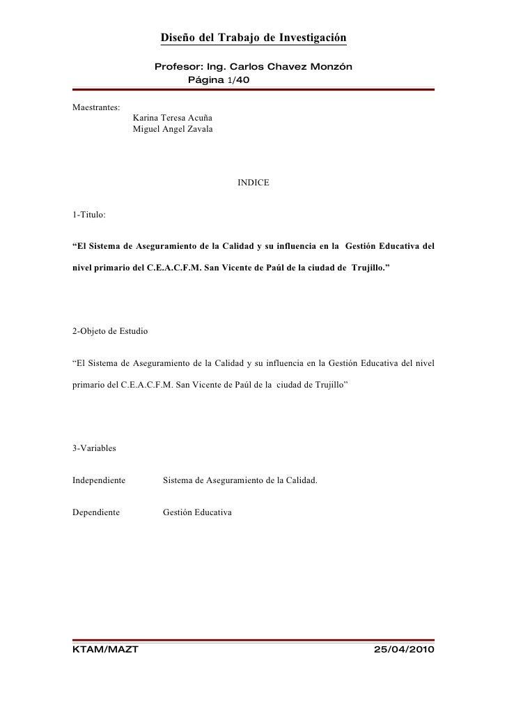 Diseño del Trabajo de Investigación                        Profesor: Ing. Carlos Chavez Monzón                            ...
