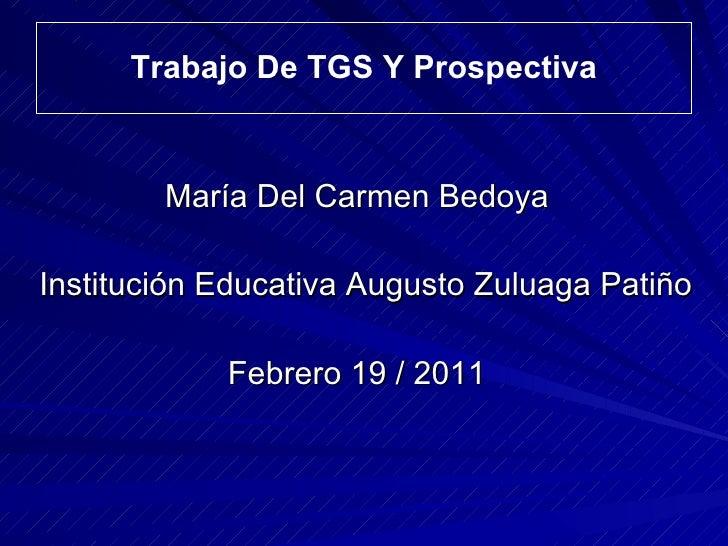 Trabajo De TGS Y Prospectiva <ul><li>María Del Carmen Bedoya </li></ul><ul><li>Institución Educativa Augusto Zuluaga Patiñ...
