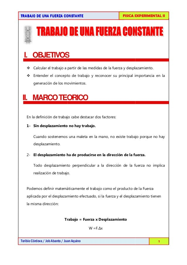 TRABAJO DE UNA FUERZA CONSTANTETRABAJO DE UNA FUERZA CONSTANTETRABAJO DE UNA FUERZA CONSTANTETRABAJO DE UNA FUERZA CONSTAN...