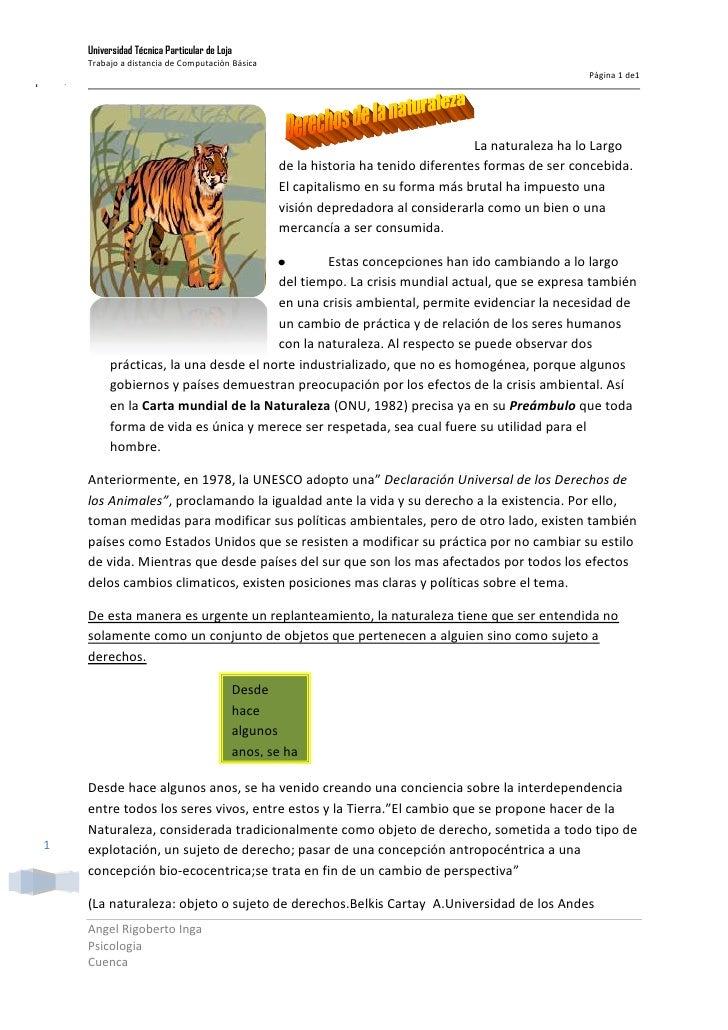 19050120650La naturaleza ha lo Largo de la historia ha tenido diferentes formas de ser concebida. El capitalismo en su for...