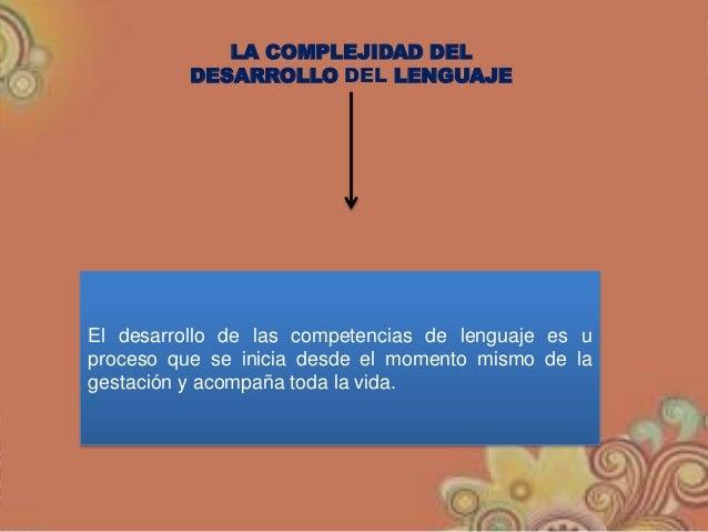 LA COMPLEJIDAD DEL DESARROLLO DEL LENGUAJE El desarrollo de las competencias de lenguaje es u proceso que se inicia desde ...