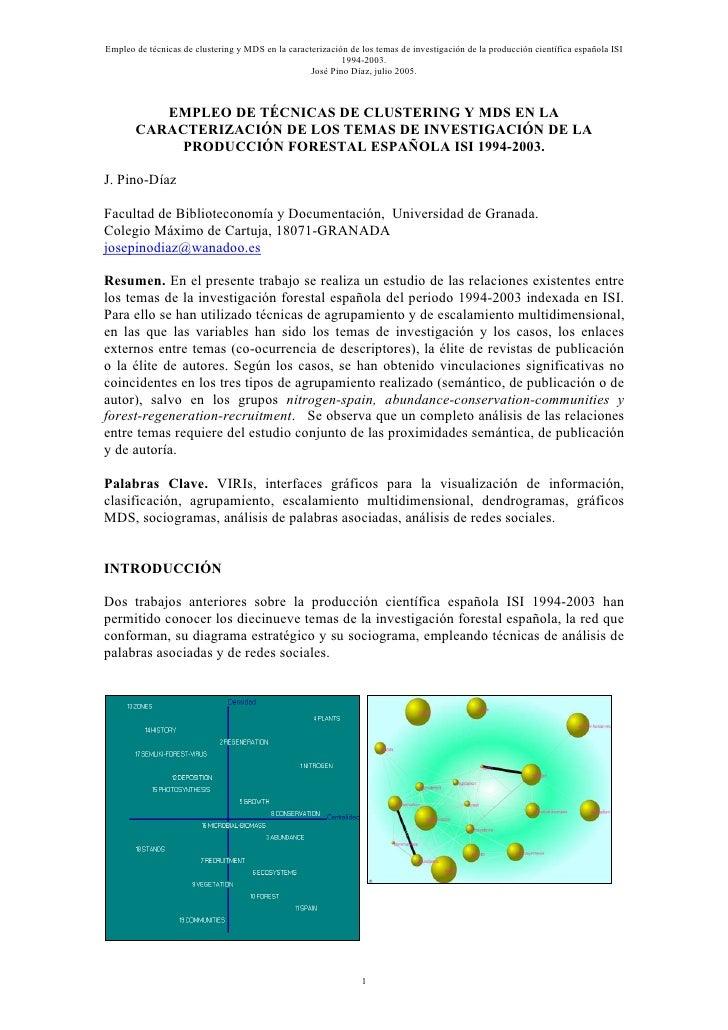 Empleo de técnicas de clustering  y MDS.