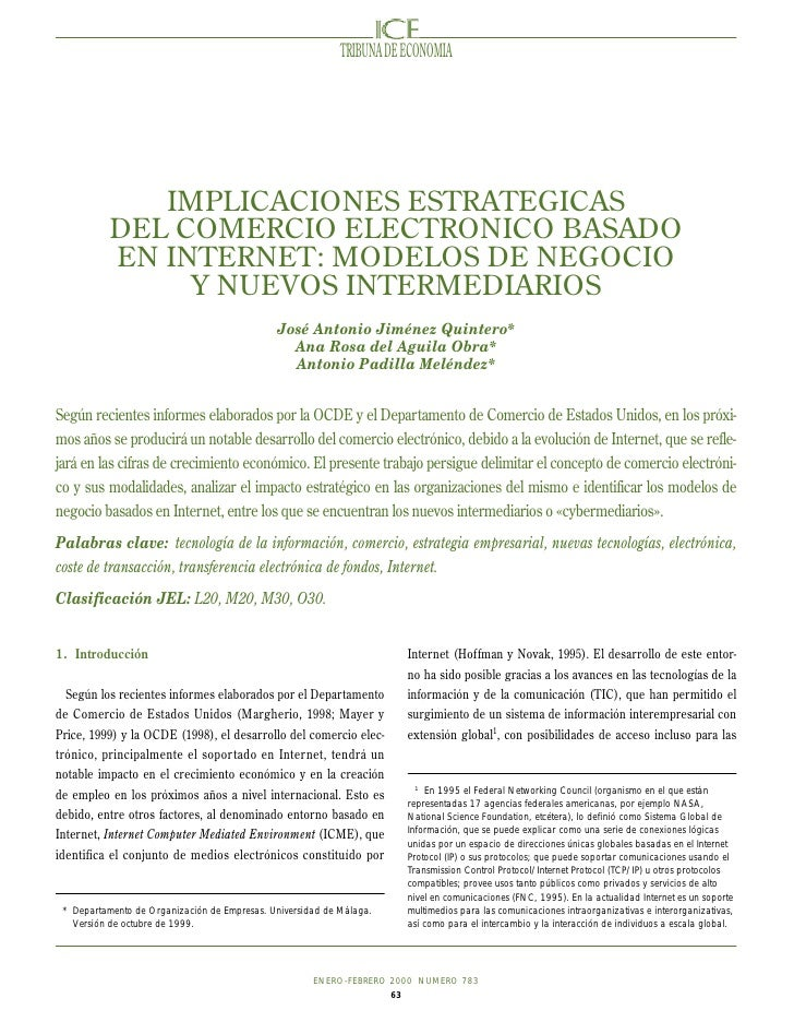 TRIBUNA DE ECONOMIA             IMPLICACIONES ESTRATEGICAS          DEL COMERCIO ELECTRONICO BASADO          EN INTERNET: ...
