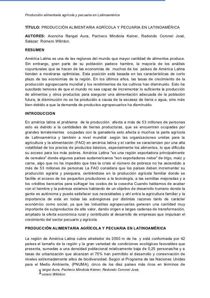 Producción alimentaria agrícola y pecuaria en LatinoaméricaTÍTULO: PRODUCCIÓN ALIMENTARIA AGRÍCOLA Y PECUARIA EN LATINOAMÉ...