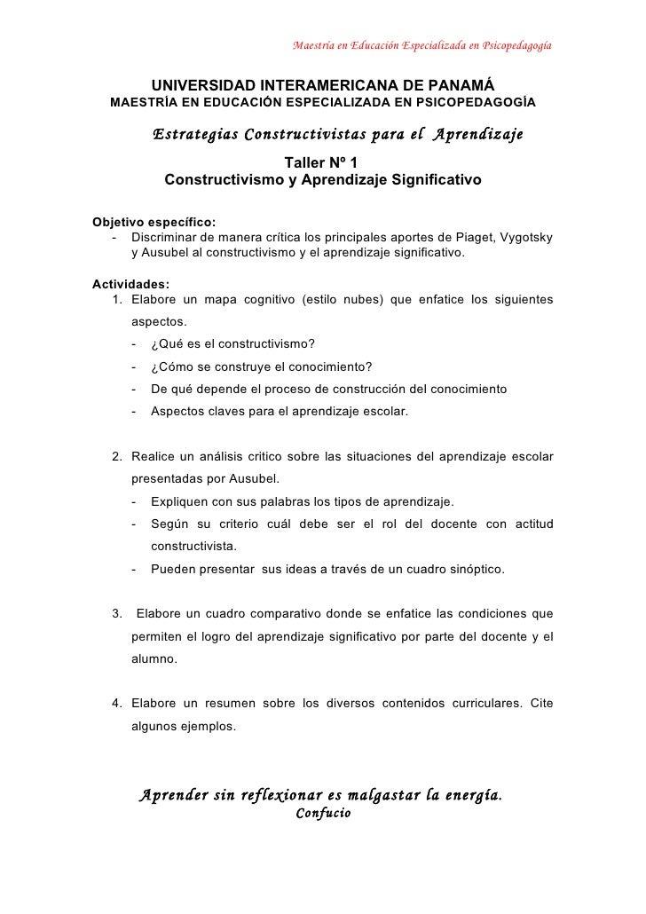 Maestría en Educación Especializada en Psicopedagogía                 UNIVERSIDAD INTERAMERICANA DE PANAMÁ   MAESTRÍA EN E...