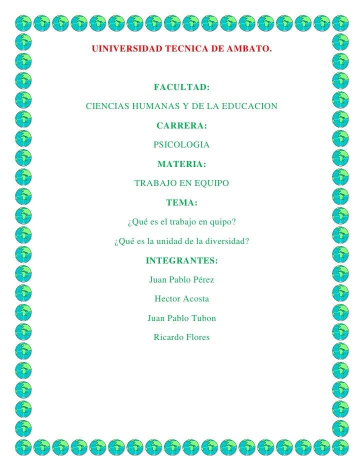 UINIVERSIDAD TECNICA DE AMBATO.<br />FACULTAD:<br />CIENCIAS HUMANAS Y DE LA EDUCACION<br />CARRERA:<br />PSICOLOGIA<br />...