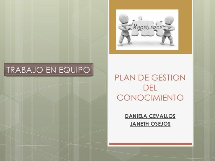 TRABAJO EN EQUIPO                    PLAN DE GESTION                          DEL                    CONOCIMIENTO         ...