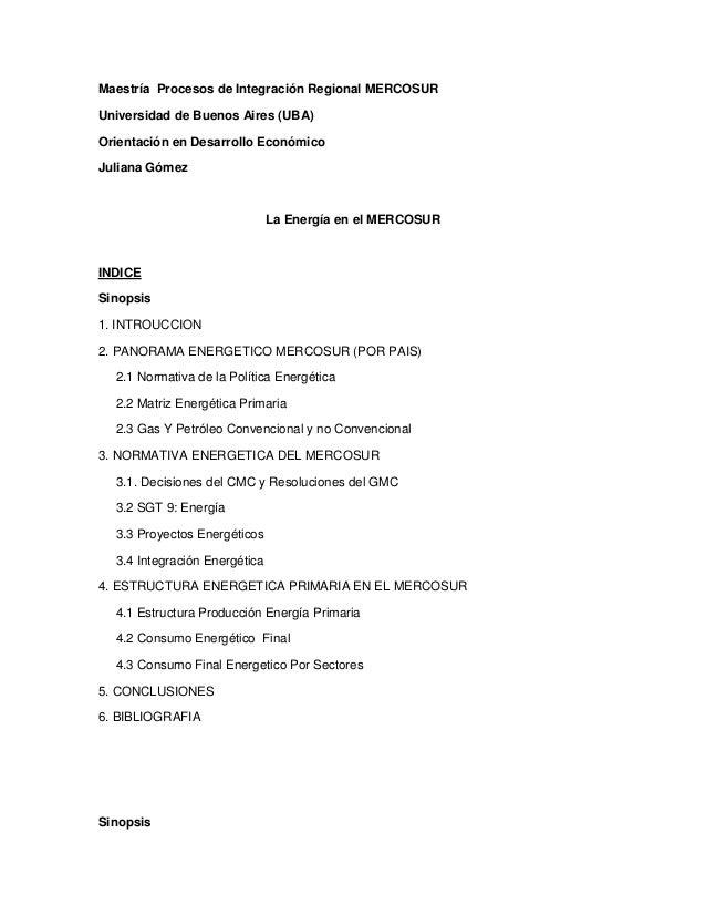 Maestría Procesos de Integración Regional MERCOSUR Universidad de Buenos Aires (UBA) Orientación en Desarrollo Económico J...