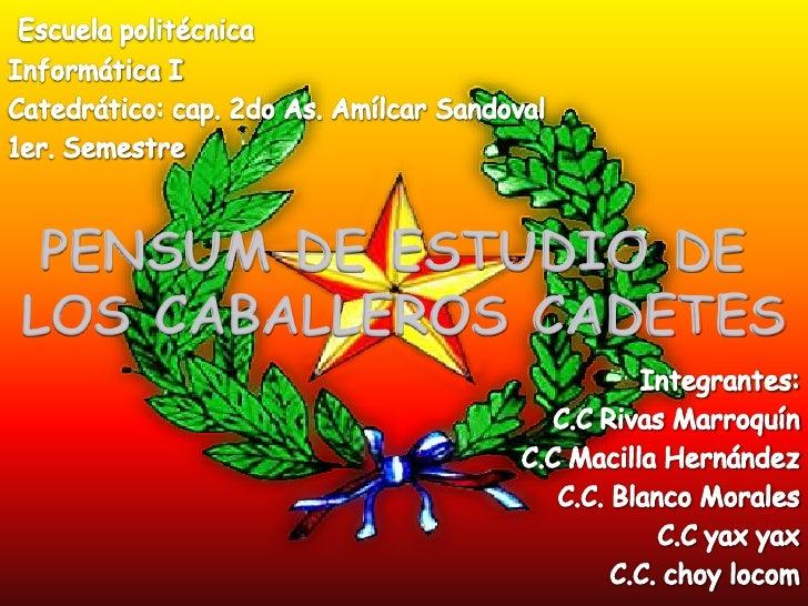 PENSUM DE ESTUDIO DELOS CABALLEROS CADETES