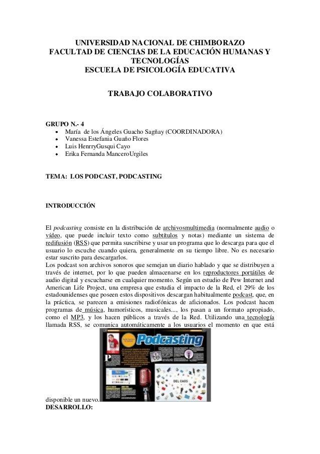 UNIVERSIDAD NACIONAL DE CHIMBORAZO FACULTAD DE CIENCIAS DE LA EDUCACIÓN HUMANAS Y TECNOLOGÍAS ESCUELA DE PSICOLOGÍA EDUCAT...