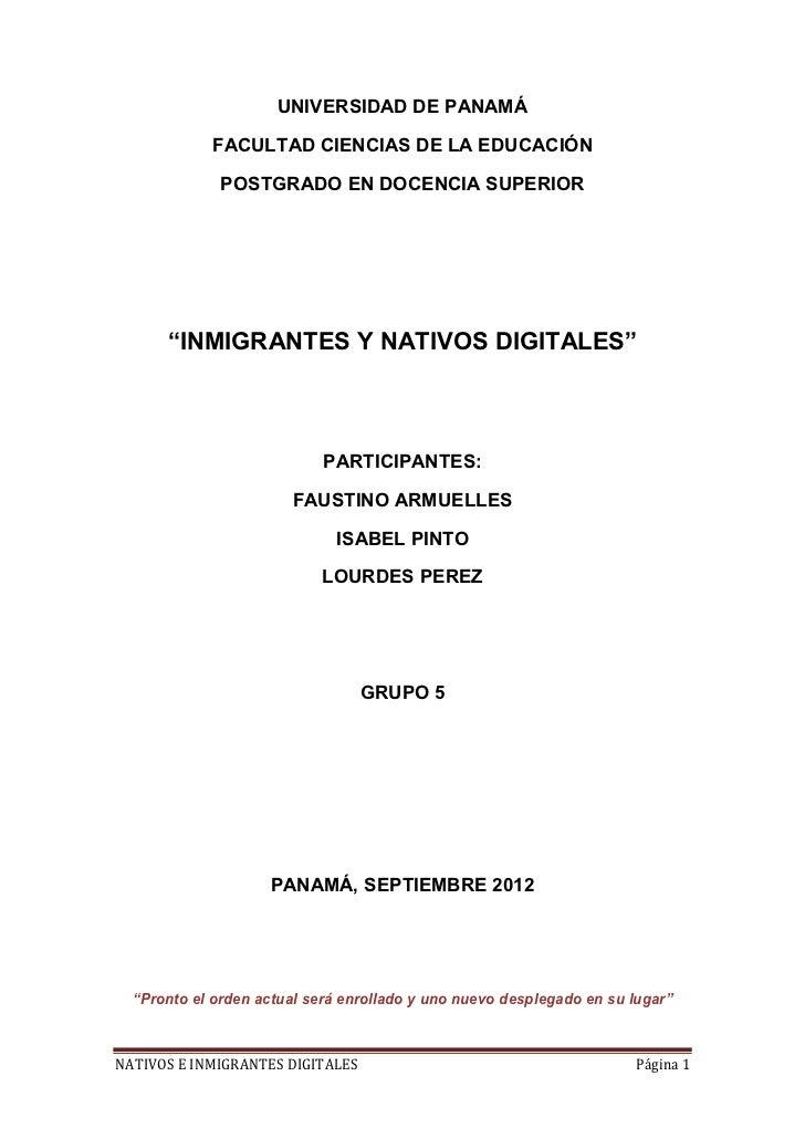 """UNIVERSIDAD DE PANAMÁ            FACULTAD CIENCIAS DE LA EDUCACIÓN              POSTGRADO EN DOCENCIA SUPERIOR      """"INMIG..."""