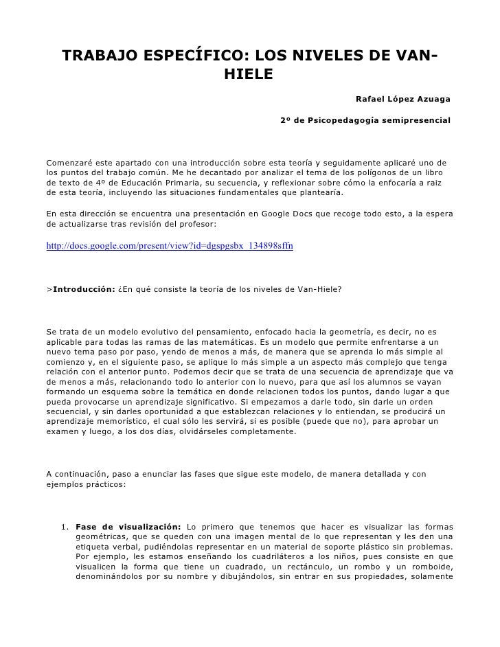 TRABAJO ESPECÍFICO: LOS NIVELES DE VAN-                    HIELE                                                          ...