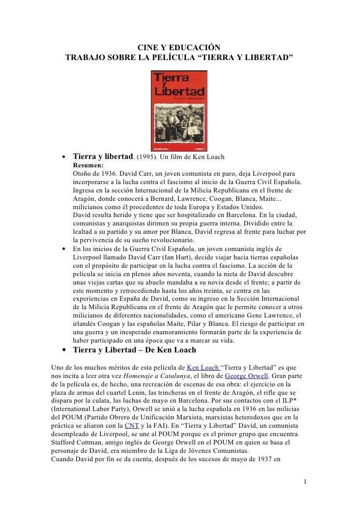 """CINE Y EDUCACIÓN:Trabajo sobre """"Tierra y libertad"""""""
