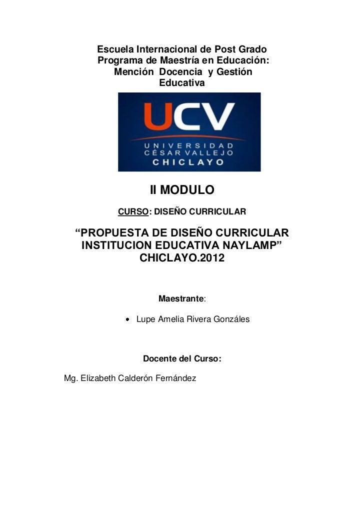 PROPUESTA DEL DISEÑO CURRICULAR PARA EDUCACION PRIMARIA