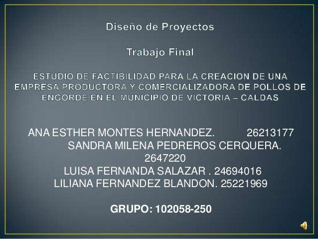 ANA ESTHER MONTES HERNANDEZ. 26213177SANDRA MILENA PEDREROS CERQUERA.2647220LUISA FERNANDA SALAZAR . 24694016LILIANA FERNA...