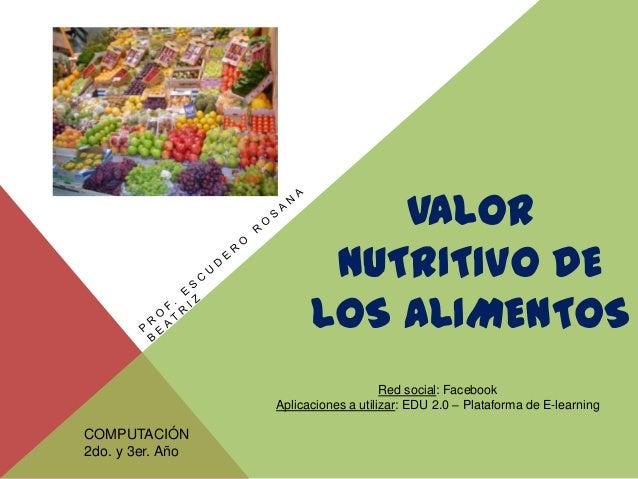 Valor nutritivo de los alimentos - Valor nutricional de los alimentos tabla ...