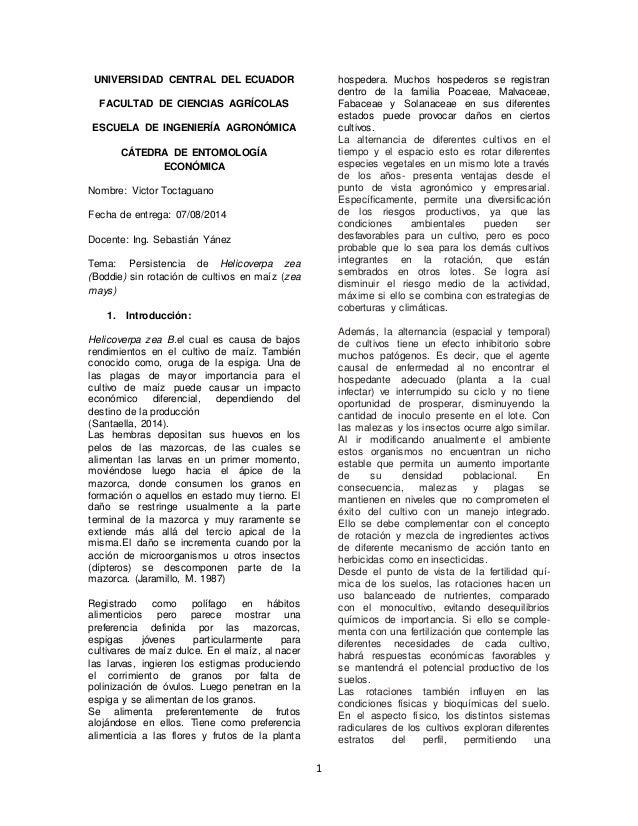1  UNIVERSIDAD CENTRAL DEL ECUADOR  FACULTAD DE CIENCIAS AGRÍCOLAS  ESCUELA DE INGENIERÍA AGRONÓMICA  CÁTEDRA DE ENTOMOLOG...