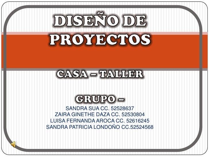 SANDRA SUA CC. 52528637  ZAIRA GINETHE DAZA CC. 52530804 LUISA FERNANDA AROCA CC. 52616245SANDRA PATRICIA LONDOÑO CC.52524...