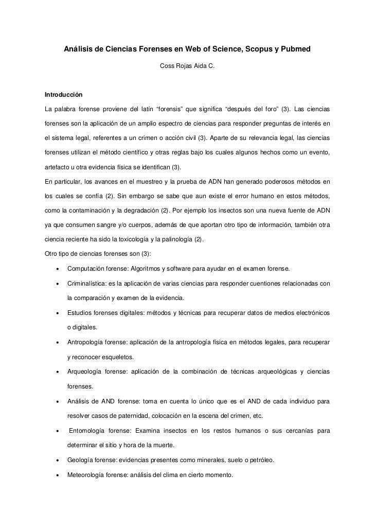 Análisis de Ciencias Forenses en Web of Science, Scopus y Pubmed                                            Coss Rojas Aid...