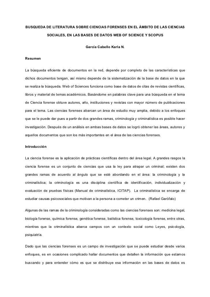 BUSQUEDA DE LITERATURA SOBRE CIENCIAS FORENSES EN EL ÁMBITO DE LAS CIENCIAS               SOCIALES, EN LAS BASES DE DATOS ...
