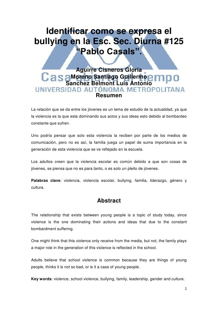 """125689131337Identificar como se expresa el bullying en la Esc. Sec. Diurna #125 """"Pablo Casals"""".<br />Aguirre Cisneros Glor..."""